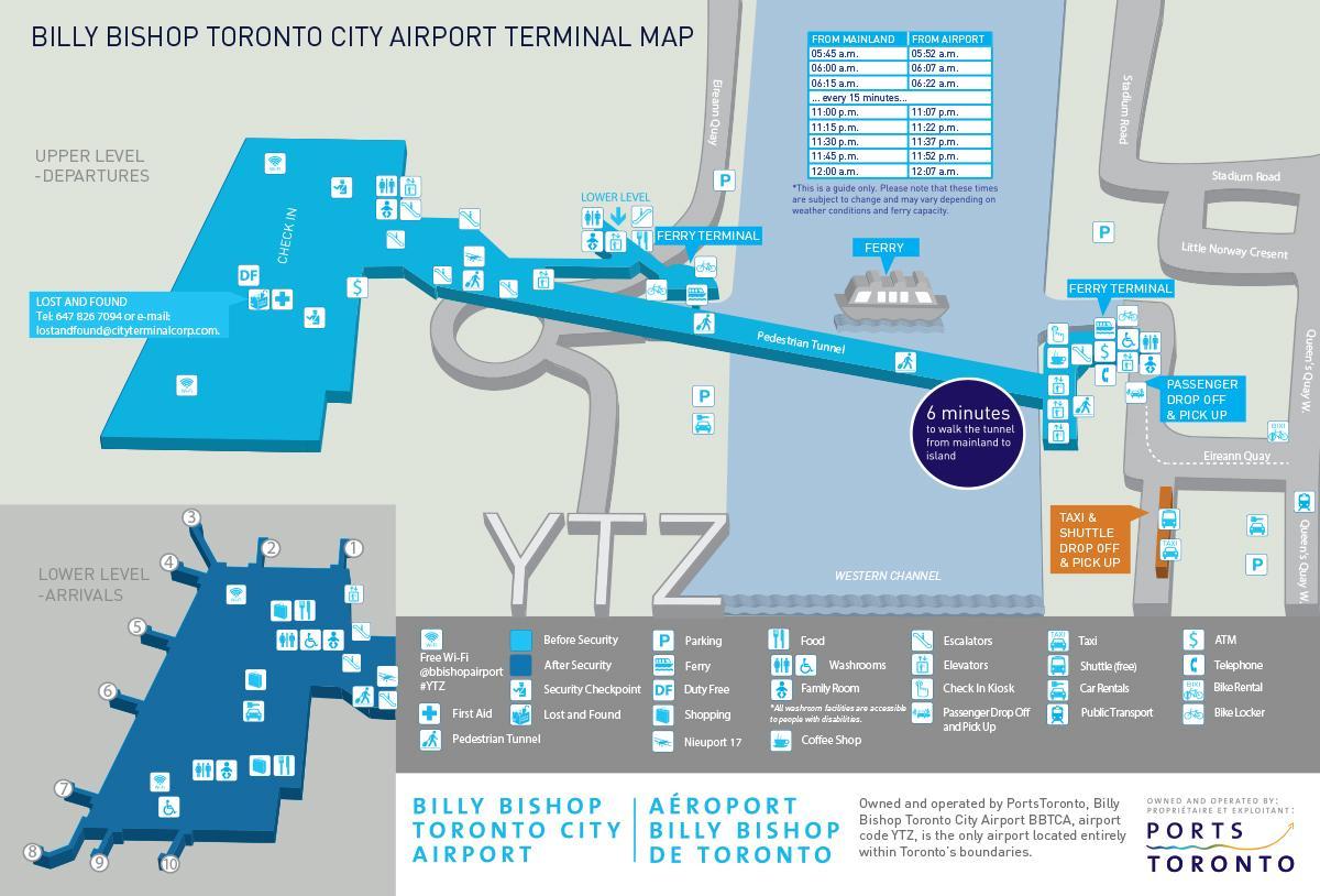 Ytz Airport Map Billy Bishop Toronto city airport map   Map of Billy Bishop