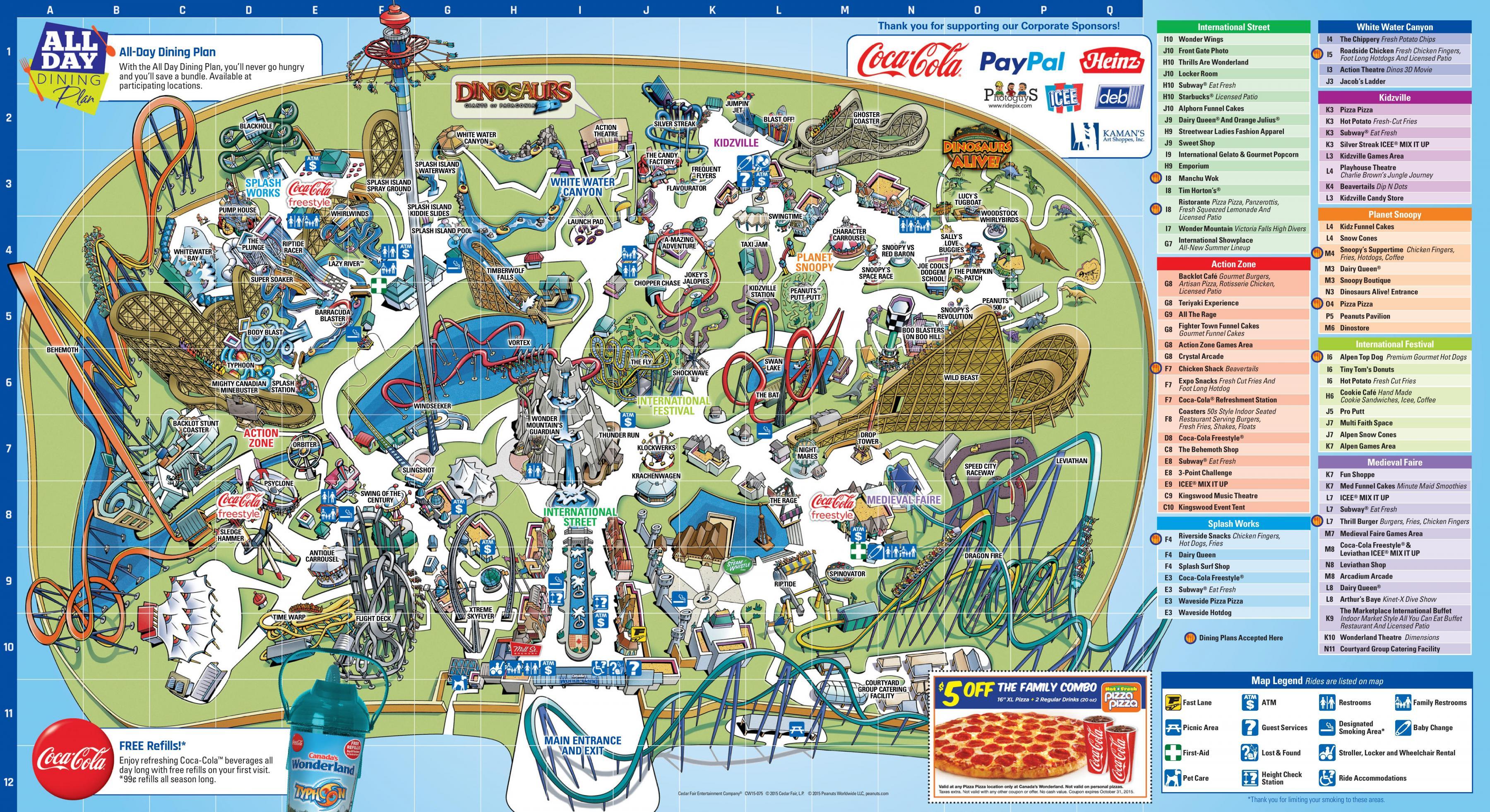 Canada S Wonderland Map Map Of Canada S Wonderland Canada