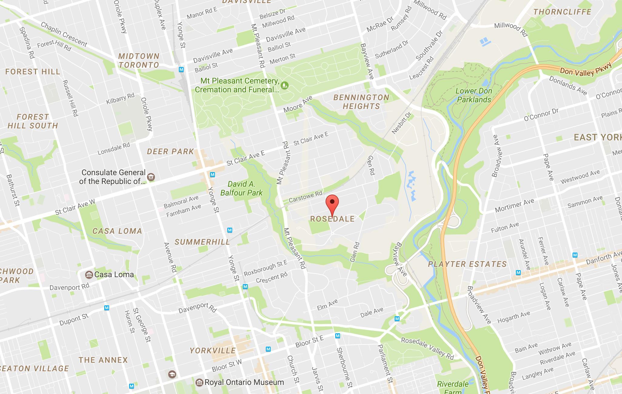 Rosedale neighbourhood Toronto map - Map of Rosedale neighbourhood ...