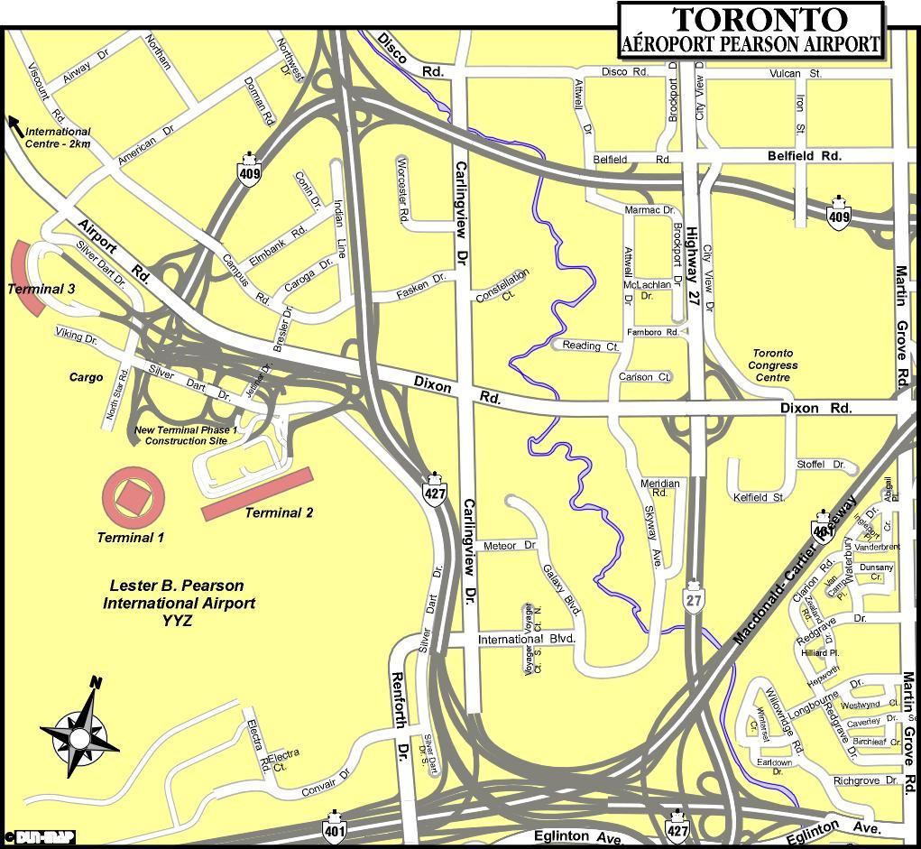 Toronto airports map - Map of Toronto airports (Canada)