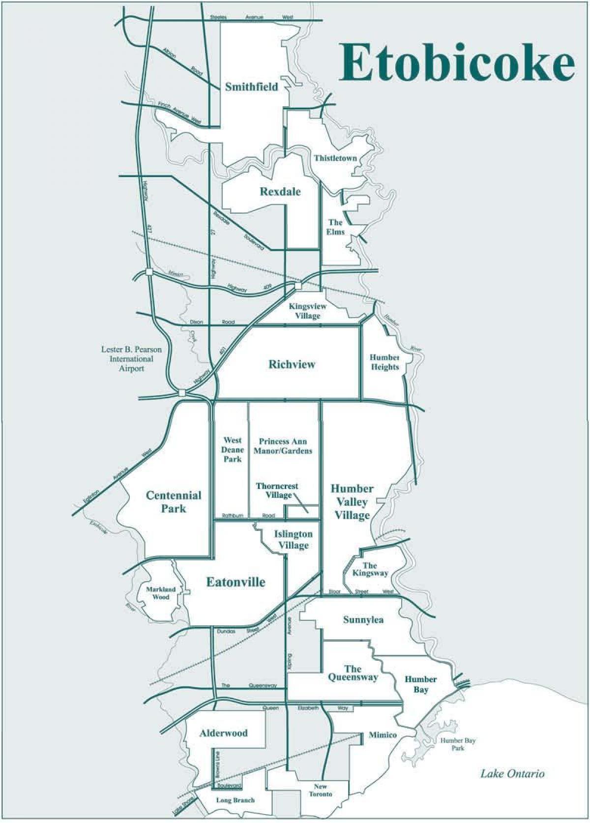 Map Of Etobicoke Etobicoke neighbourhood Toronto map   Map of Etobicoke