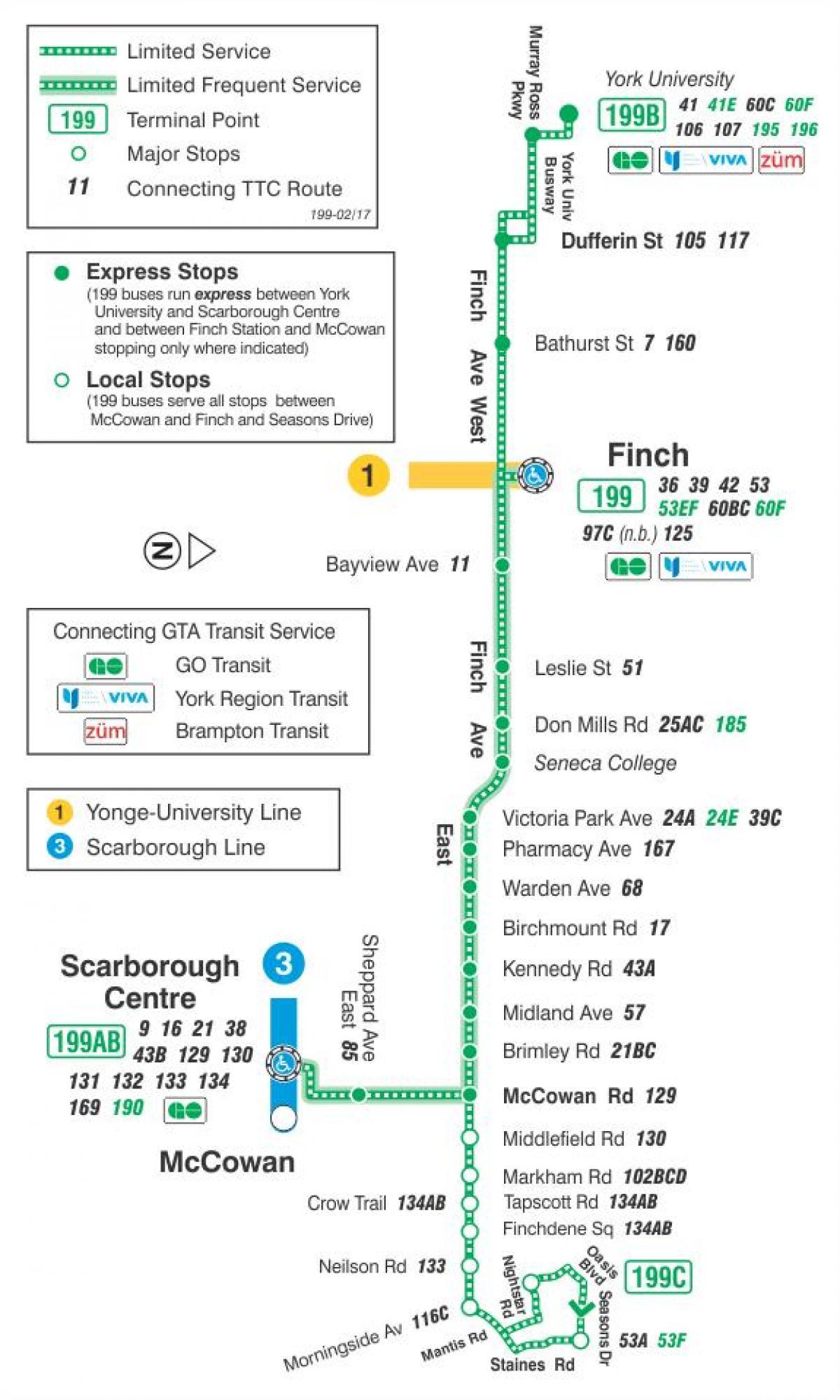 TTC 199 Finch Rocket bus route Toronto map - Map of TTC 199 Finch ...